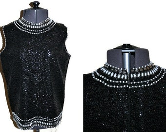1960's Black Top // Sequin and Beaded Wool Top with a Zip Back 60's // Black and White Top