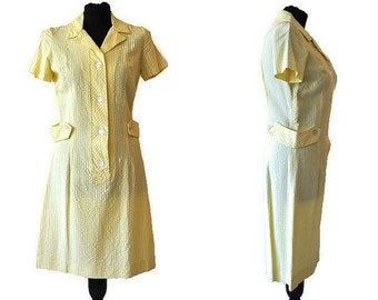 Horrockses Yellow Dress // Vintage 1960s Horrockses Fashions Summer Dress // Spring Dress // Lightweight Dress // Size Small