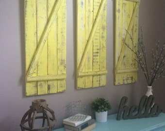 Mustard Yellow Distressed Shutters