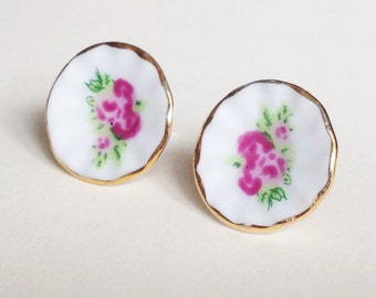 Porcelain Flowers Sterling Silver studs