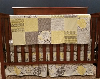 Gender Neutral Grey and Yellow Nursery Bedding, Patchwork Minky Blanket. *Ready to ship*