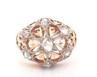 Vintage Rose Cut Diamond Ring In 14k Rose Gold