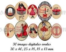 Digital collage sheet, oval digital images, digital collage for pendant, digital images corset, Paris, Tour Eiffel vintage, instant download