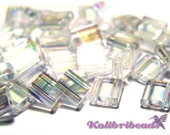 10 g Miyuki Tila Beads 5 x 5mm - Crystal AB (250) - Approx 1100 beads