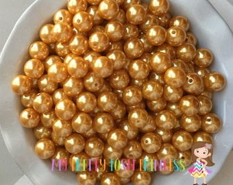 20mm Golden Yellow A56 Chunky Bubble Gum Bead Faux Pearls