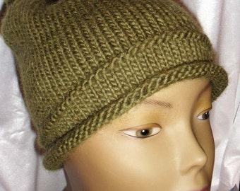 Hand Knit Slouch Hat with Pom Pom (Olive)