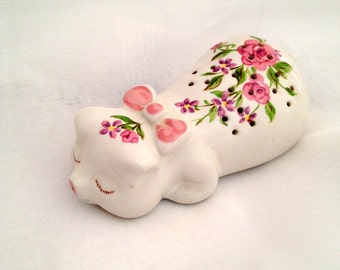 Adorable Little Sleeping Pig Potpourri Scent Diffuser Handpainted Pink Roses and Bow Purple Forget Me Nots for Avon by Ceramarte Brazil 1978