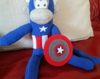 Handmade captain america inspired sock monkey