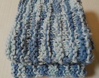 Blue Dishcloths, Knitted Dishcloths, Cotton Dishcloths, Knit Dishcloths, Hand Knit Dishcloths