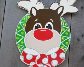christmas door hanger,  rudolph the red nosed,  reindeer door hanger, rudolph door hanger, christmas, birthday