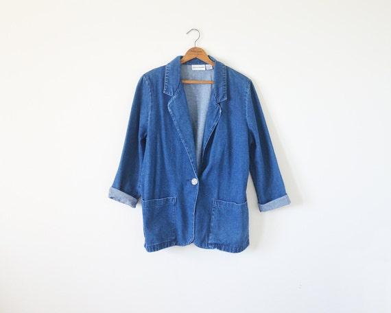 90s denim blazer / blue denim jacket