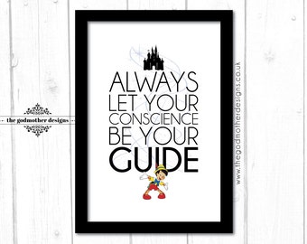 Pinocchio - Disney Character Quote - Typography - PRINT