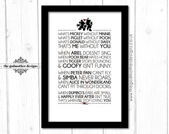 Mickey Without Minnie Poem - Typography Print - PRINT