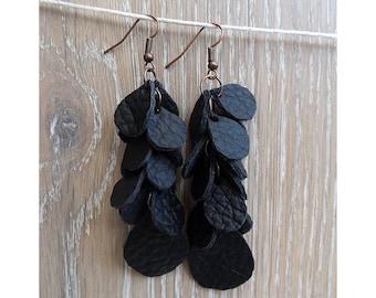 """Leather earrings - """"Black currant"""" - Chandelier Earrings - boho earrings"""