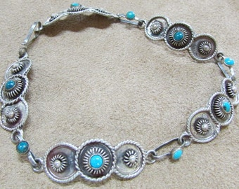 Sterling Silver and Turquoise Link Bracelet from Mexico