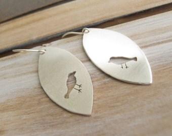 Bird Earrings, Silver Bird Earrings, Bird Jewelry, Long Dangle Earrings, Bird Lover,  Bird Watcher Gift, Unique Jewelry, Sundance Style