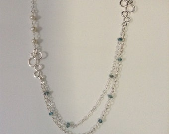 Sterling and Gemstone Bubble Necklace