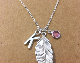 Leaf personalized charm necklace
