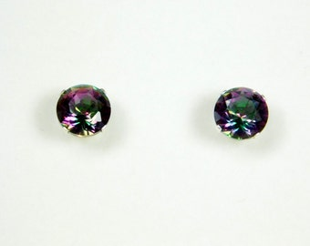 3.10 Carat Mystic Fire Topaz Stud Earrings