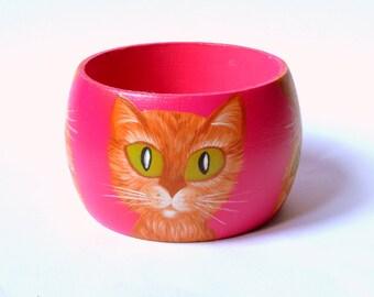 hand painted CAT bracelet