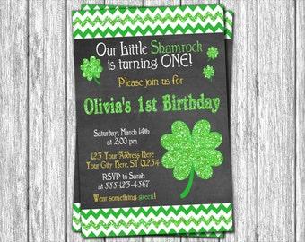 St. Patrick's Day Birthday Invitation - St Patricks Day Invitations - St. Patty's Day Little Shamrock