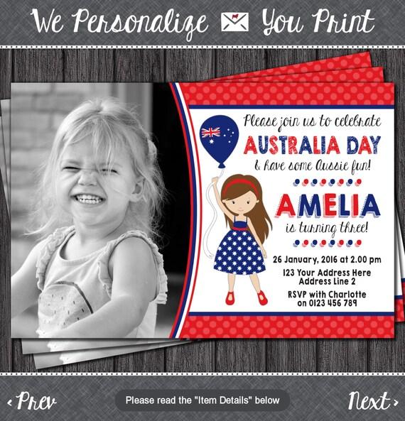 Items Similar To Australia Day Birthday Invitation