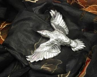 Raven Badge, Scarf Cravat Pin, Pewter, Badge