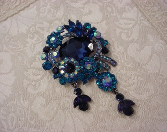 Large Blue Aqua  Rhinestone Pin Brooch Pendant Enhancer ~ Gorgeous