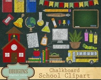 Chalkboard School Clipart 2 - Back to School Clipart, School clip art, Chalk stationery, school bus, computers, science, digital blackboard