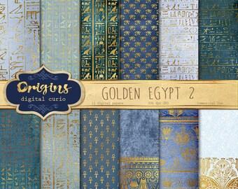 Blue Gold Egyptian Digital Paper, Hieroglyphics Scrapbook Paper, Papyrus Vintage Antique Egypt Patterns, Digital Gold Foil Leaf Overlay