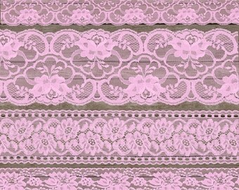 Pink Lace Clipart, Shabby Chic vintage lace clip art png overlays, pink lace borders, lace baby shower scrapbook embellishments