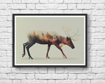 Art-Poster 50 x 70 cm - Forest Reindeer