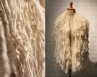 Chunky Scarf, Fringe Accessory, Winter Bulky Wrap, Luxury wool scarf, cream wool shawl