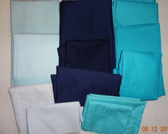 Shades of Blue - Assorted Lot of Solid Blue Cotton Fabric Pieces