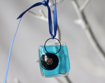"fused glass turquoise ""wonky nugget"""