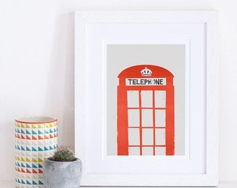 London Red Telephone Box, City Themed Gift, Unique London Print, Housewarming Gift, Home City Art, Retro Style Red Phone Box, Bright Red
