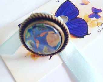 Handmade vintage florals adjustable ring