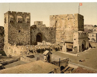 The towers of David and Hippicus, Jerusalem, Holy Land] 1890. Vintage photo postcard reprint 8x10-up.