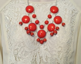 Red  Bubble Bib Beaded Chandelier Silver Chain Statement Necklace