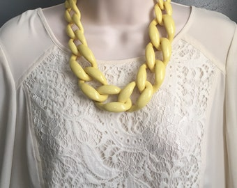 Yellow Chunky Chain Lucite Link Housewife Statement Necklace