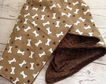 Dog Blanket,Cotton Dog Bone Print,Crate Blanket,Blanket for Puppies,Minky Pet Blanket,Light Dog Blanket,Brown Minky Dot,Ready to Ship,