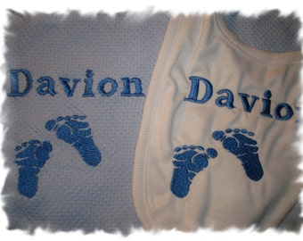 Baby Feet Personalized Baby Feet Infant Toddler Baby Blanket & Bib Set Cute Any color