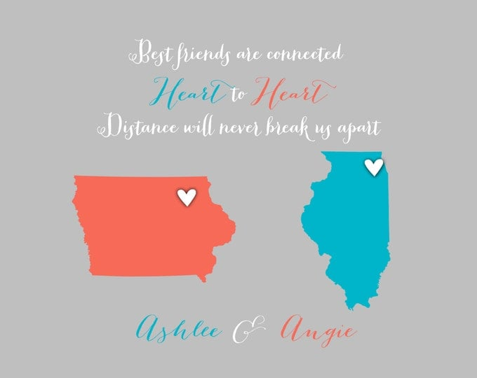 Christmas Sister Birthday Gift, Photo Map, Quote about Sisters, Bridesmaid Gift, Best Friends, Sister, Cousin, Art Print, Long Distance Map