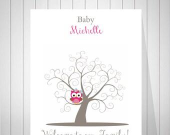 Baby Shower Owl Guest Book Fingerprint Tree Guest Book Baby Girl Birthday Owl Fingerprint Baby Shower Tree Print - 43677