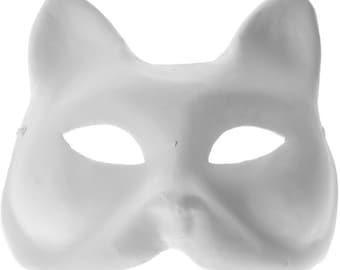 White Craft Paper Mache Cat Kitten Base Venetian Masquerade Mardi Gras Halloween Mask