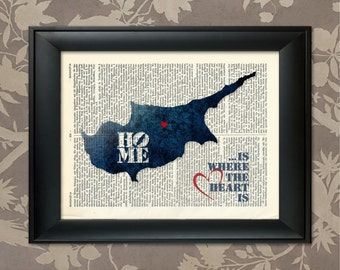 Cyprus Art Print, Cyprus Print, Cyprus Map Art, Cyprus Wall Art, Cyprus Poster, Cyprus Map Print, Cyprus Map, Cyprus Decor, Map of Cyprus