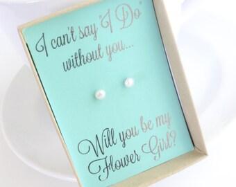 Will You Be My Flower Girl - Asking Flower Girl - Flower Girl Pearl Earrings - Flower Girl Proposal - Be My Flower Girl - Blue Flower Girl