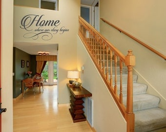 Home where our story begins. Interior vinyl wall quote.