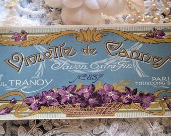 Antique french soap label, Violette de Cannes, Paul Tranoy, Paris , 1900s