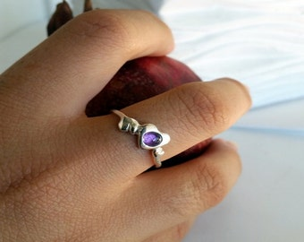 Heart Ring, Sterling heart stack ring, purple ring, Stacking Ring, Amethyste Ring, Gemstone Ring, Valentine's day gift, love ring
